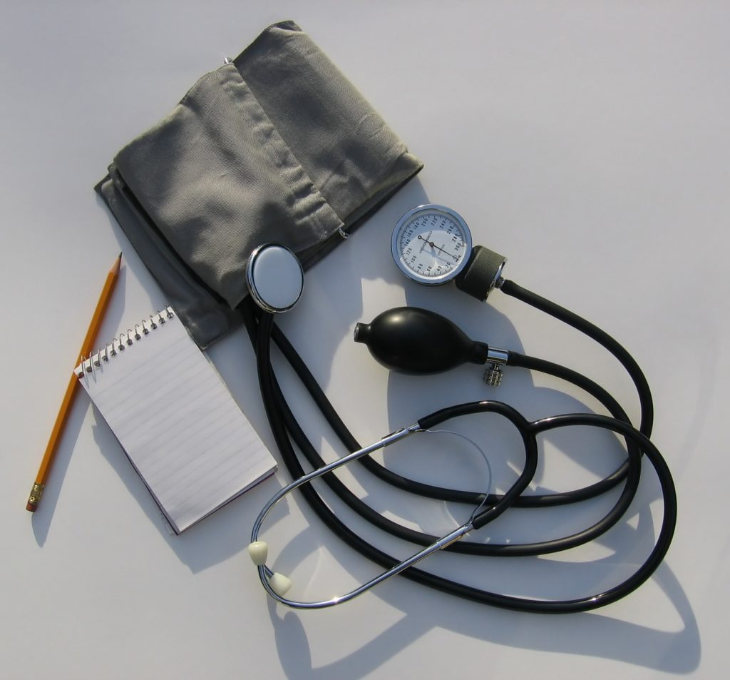 stethoscope cuff notebook