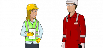 cartoon images of workers dressed in safety gear